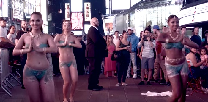 4 topless women in body paint dance at Times Square jhamack jhallo