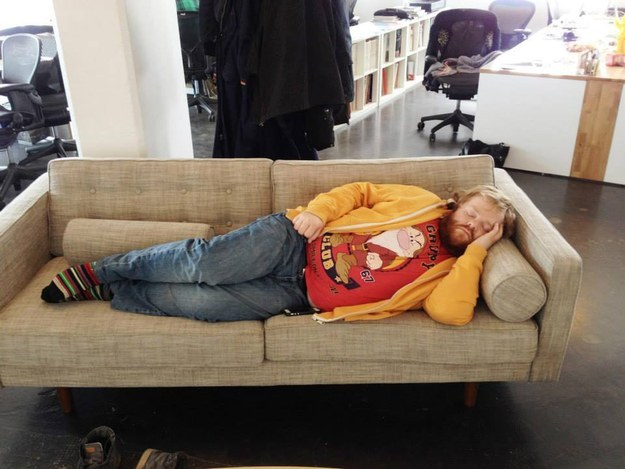 Haukur Alfreosson sleeping on the office couch