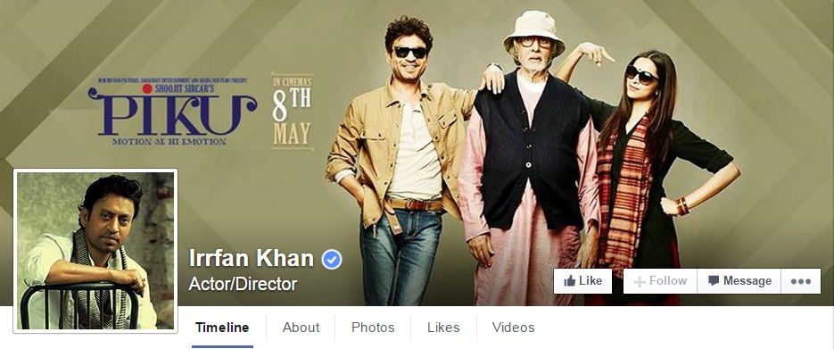 Irrfan khan on Facebook