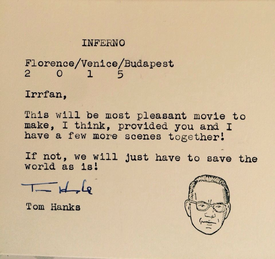 Irrfan khan receives a personal note from tom hanks