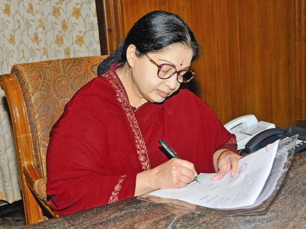 Jayalalitha with pen