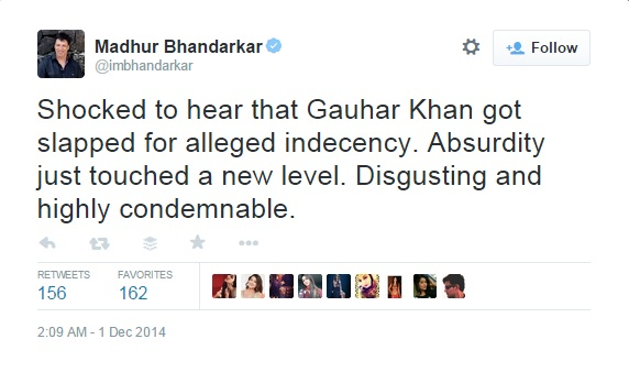 Madhur Bhandarkar's tweet for Gauhar Khan incident