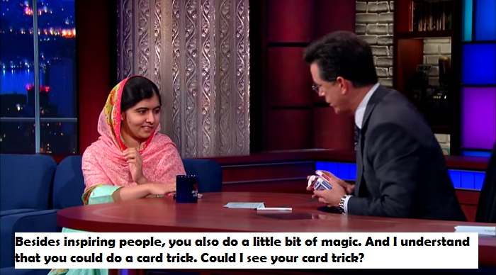 Malala Yousafzai & Stephen Do Card Tricks like a boss