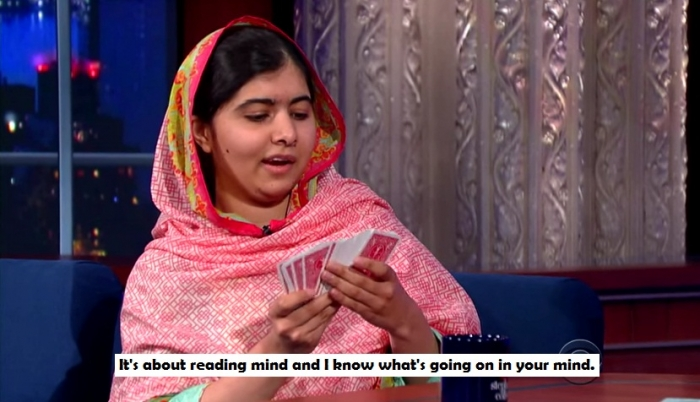 Malala Yousafzai & Stephen Do Card Tricks- malala reading mind