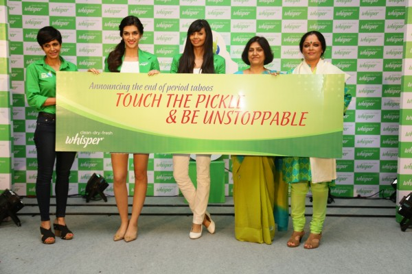 Mandira-Bedia-Kriti-Sanon-Sharmila-Nicollet-Tanvi-Azmi-and-Dr.Suneela-Garg-at-the-Whisper-TouchThePickle-campaign_