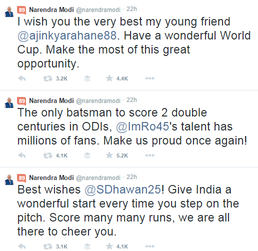 Modi tweets to dhawan and rao