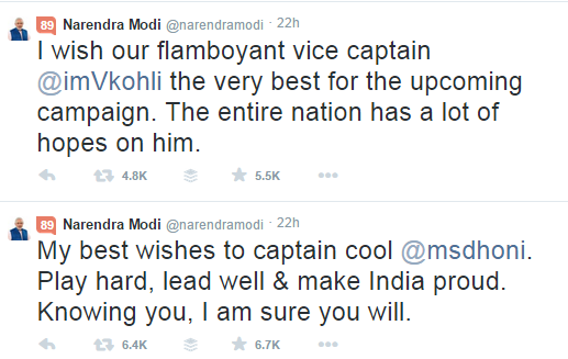 Modi tweets to dhoni and kohli