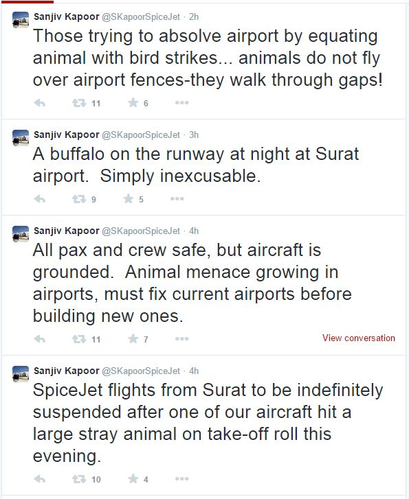 Spicejet COO Sanjiv Kapoor tweets about the buffalo incident