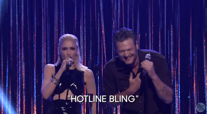 Spin the Microphone wtih Blake Shelton, Gwen Stefani, Pharrell Williams  Adam Levine- gwen