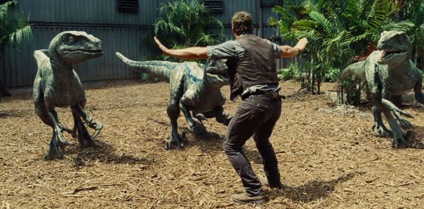 The famous raptor taming scene in Jurassic World