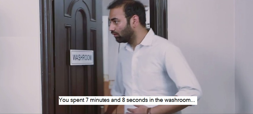 You spent 7 minutes and 8 seconds in the washroom