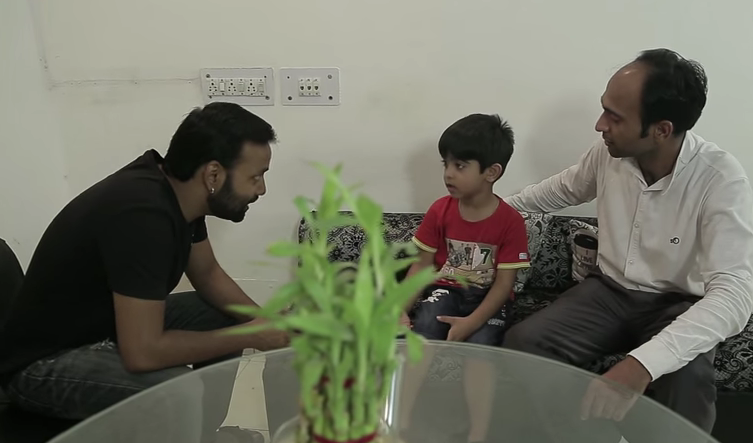 abeer with his father and the audition crew member