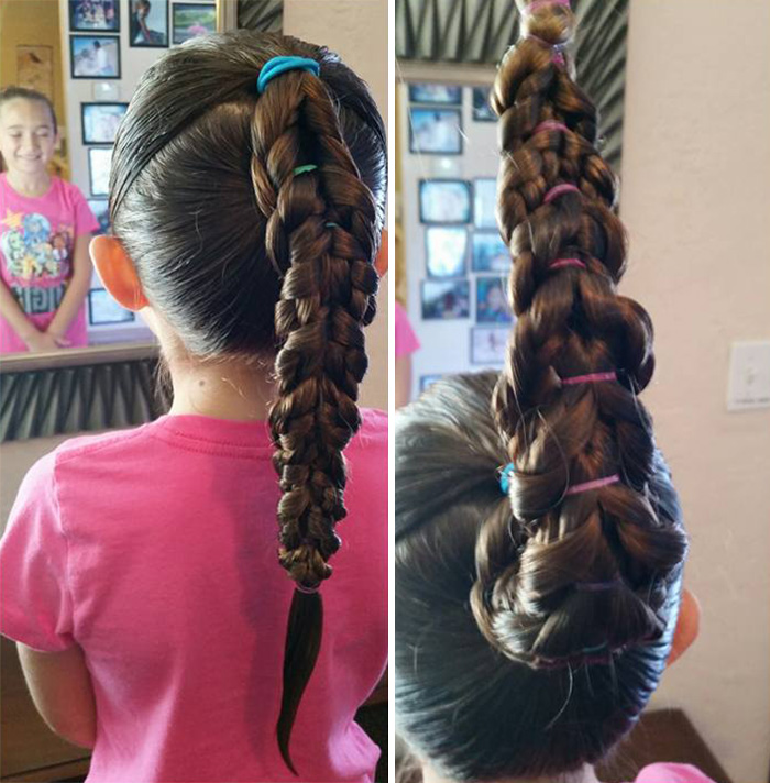 amazing dad makers daughter's hair