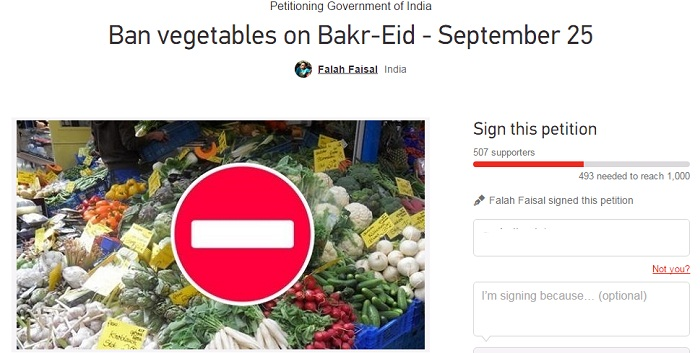 ban vegetables on bakr eid