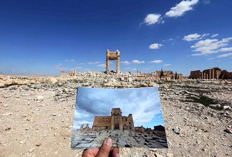 before and after isis destroyed monumentspalmyra (1)