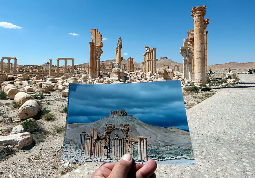 before and after isis destroyed monumentspalmyra (2)