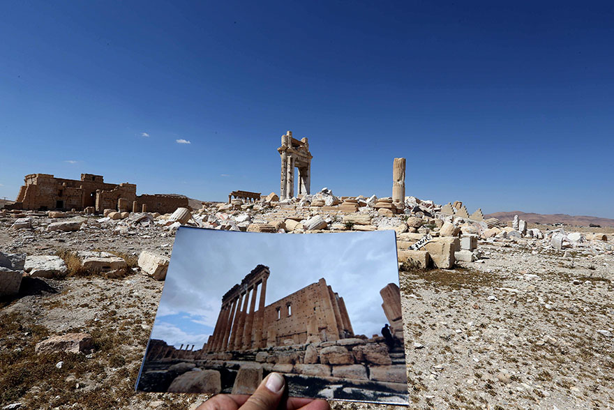 before and after isis destroyed monumentspalmyra (3)