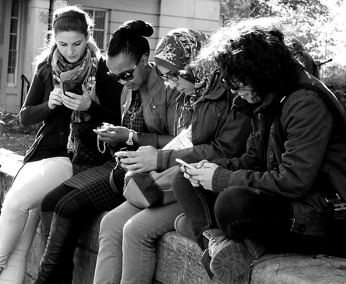 friends on phones