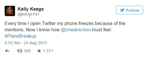 kelly keegs tweets breakup one direction fame