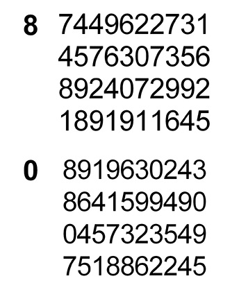 matrix of digits for the subjects