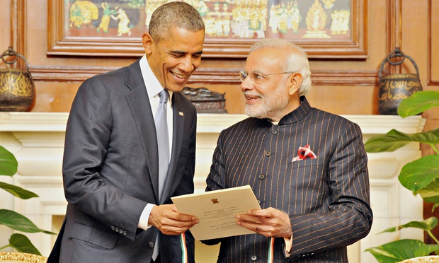 Barack Obama with Narendra Modi in his personalised pinstripe