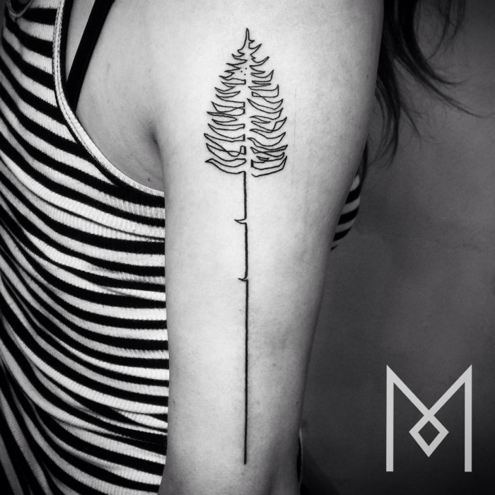 one line tattoo tree
