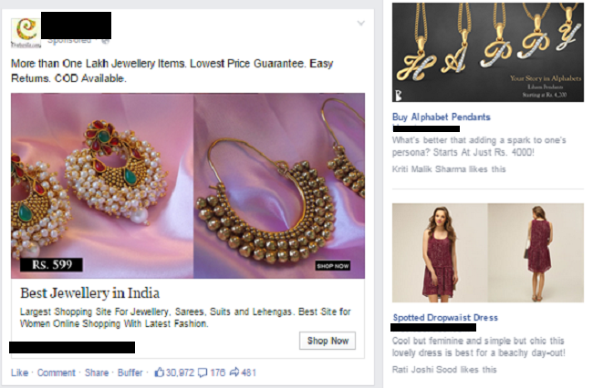 online shopping sites on Facebook timeline