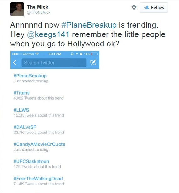 plane breakup trended on twitter