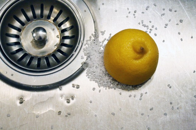 sink cleaning lemon and baking soda
