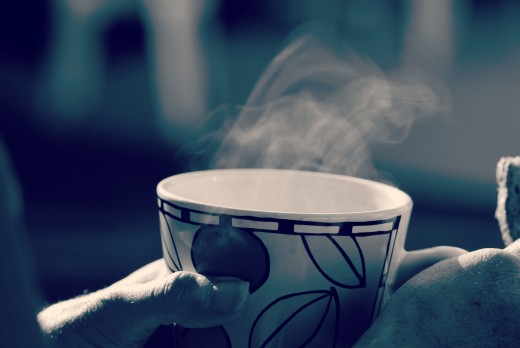 sipping coffee on a cold morning
