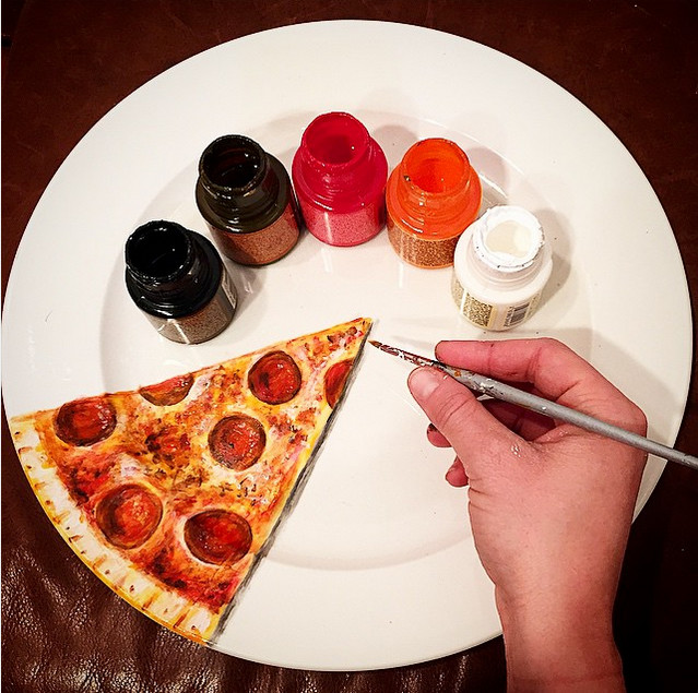 slice of pizza on the plate