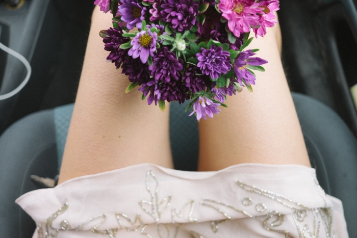 wedding day brides perspective flowers